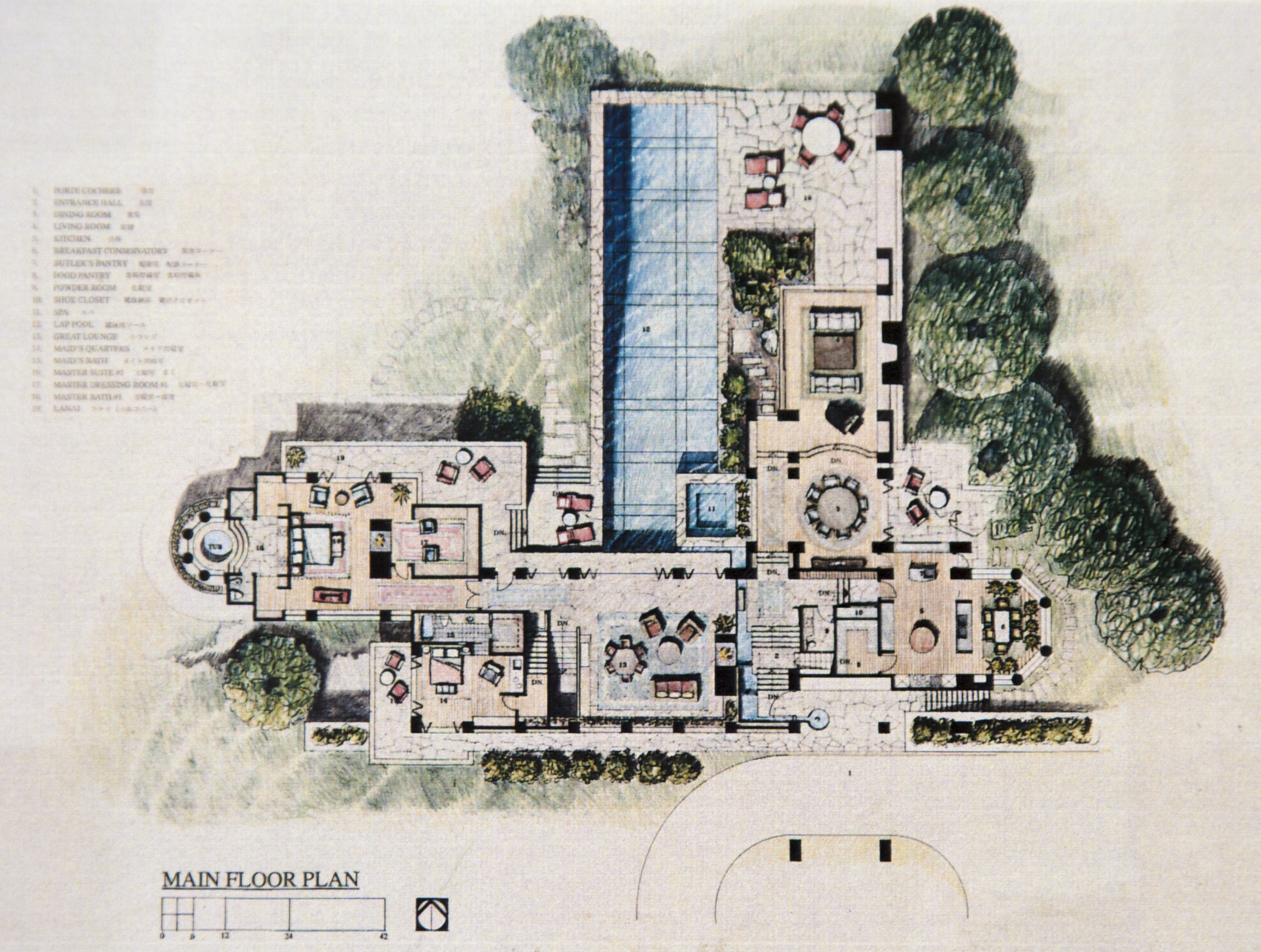 The house is designed to celebrate its surroundings by integrating interior and exterior spaces.  This is enhanced by the use of expansive windows and doorways; the flow of waterfeatures from the exterior to the interior; and by designing the plan of the house to flow with the natural contours of the site.